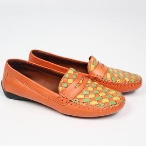 "Robert Zur ""Petra"" orange woven loafer leather"